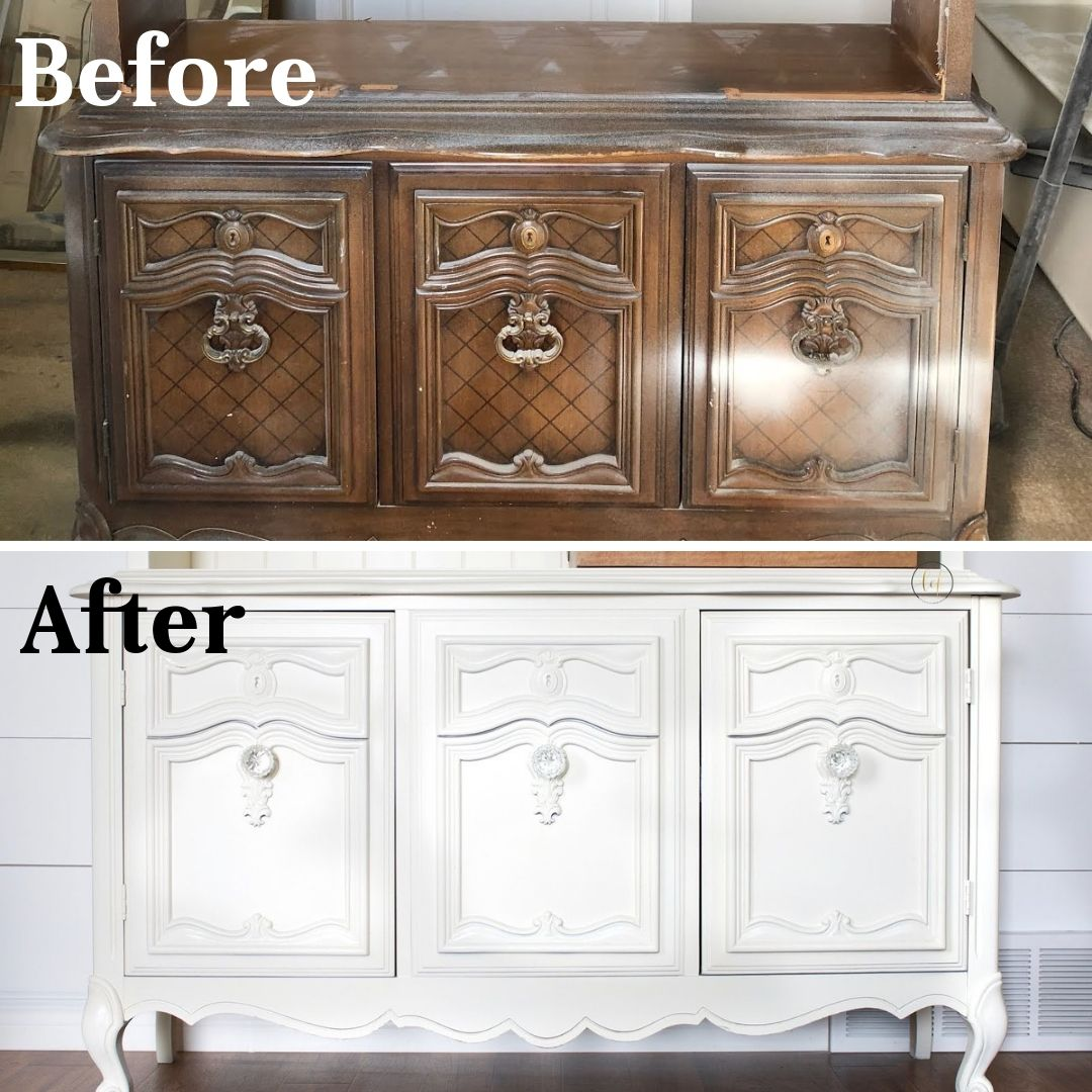 before and after painted furniture transformation - old mahogany china cabinet painted white