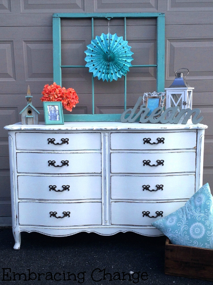 shabby chic white dresser painted with eco-friendly DIY furniture paint by Country Chic Paint