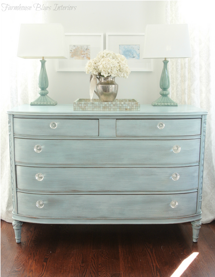 cottage coastal blue distressed dresser painted with eco-friendly DIY furniture paint by Country Chic Paint