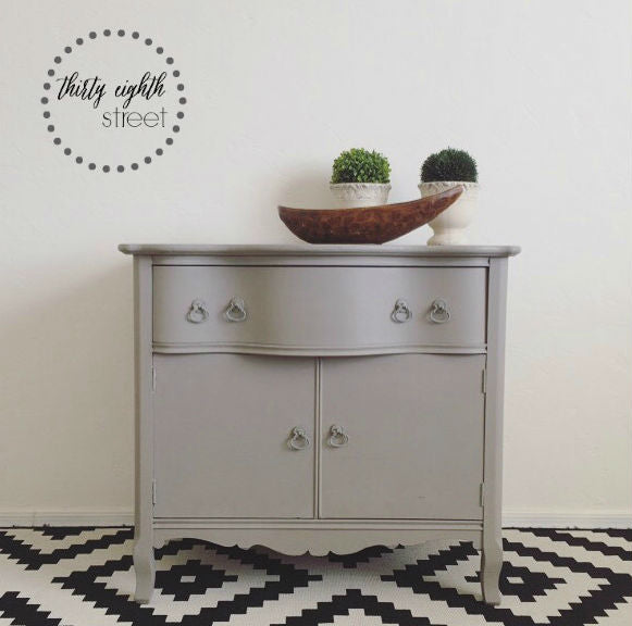 light grey washstand cabinet painted with eco-friendly DIY furniture paint by Country Chic Paint