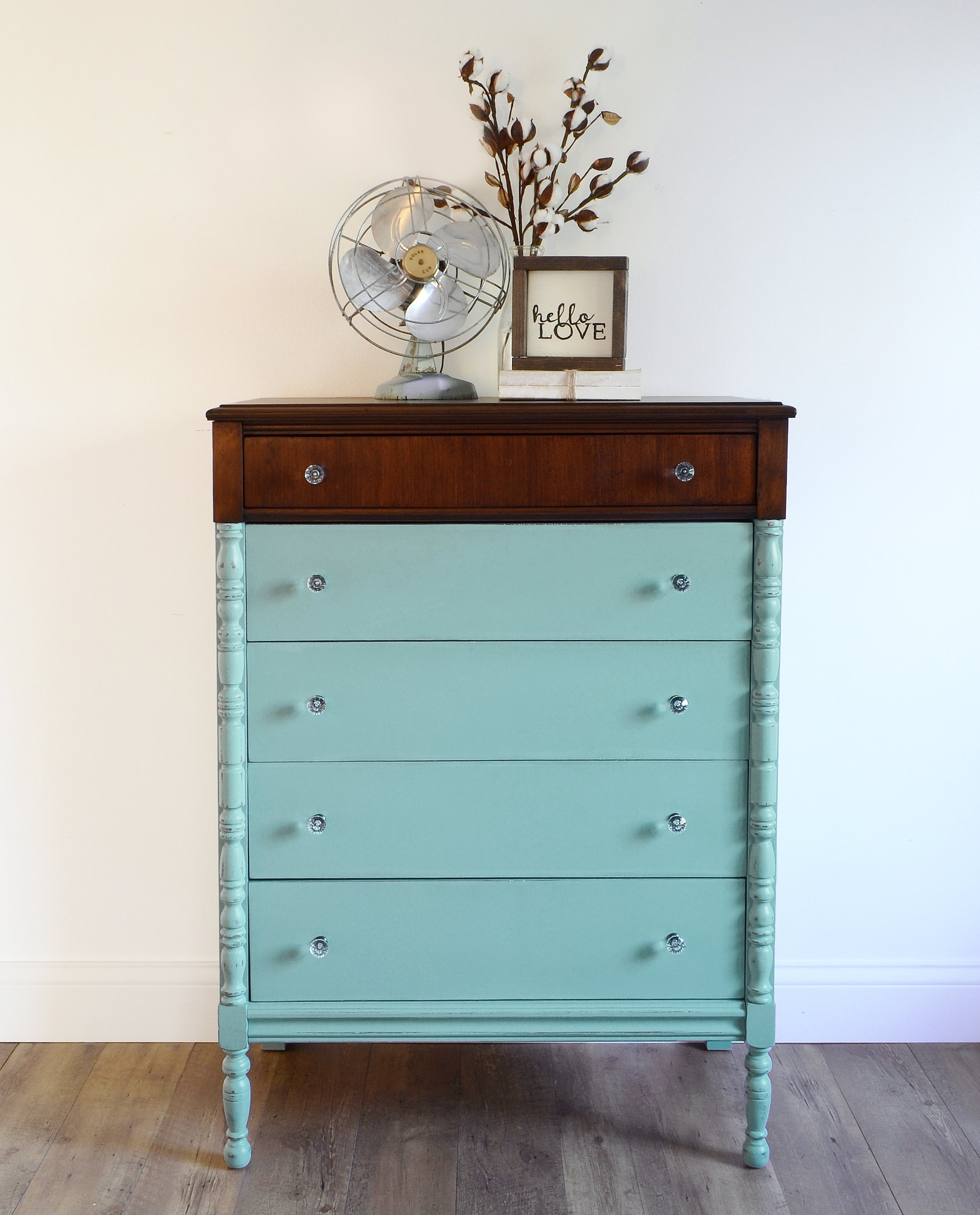 turquoise teal painted tallboy dresser with natural wood top
