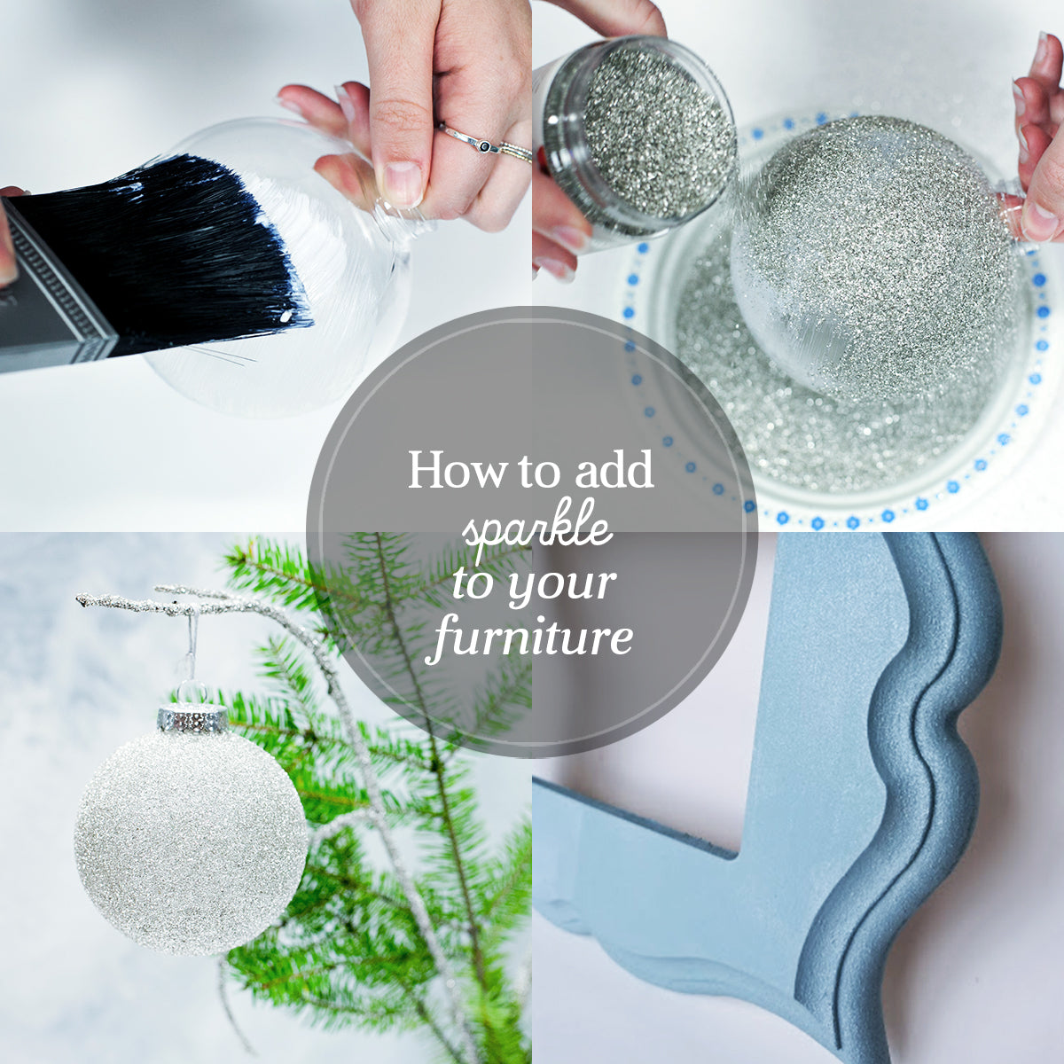Glass Glitter, Shimmer Glaze, and Sparkle Glaze Tutorial - how to add glitz and sparkle to your furniture and home decor with Country Chic Paint products