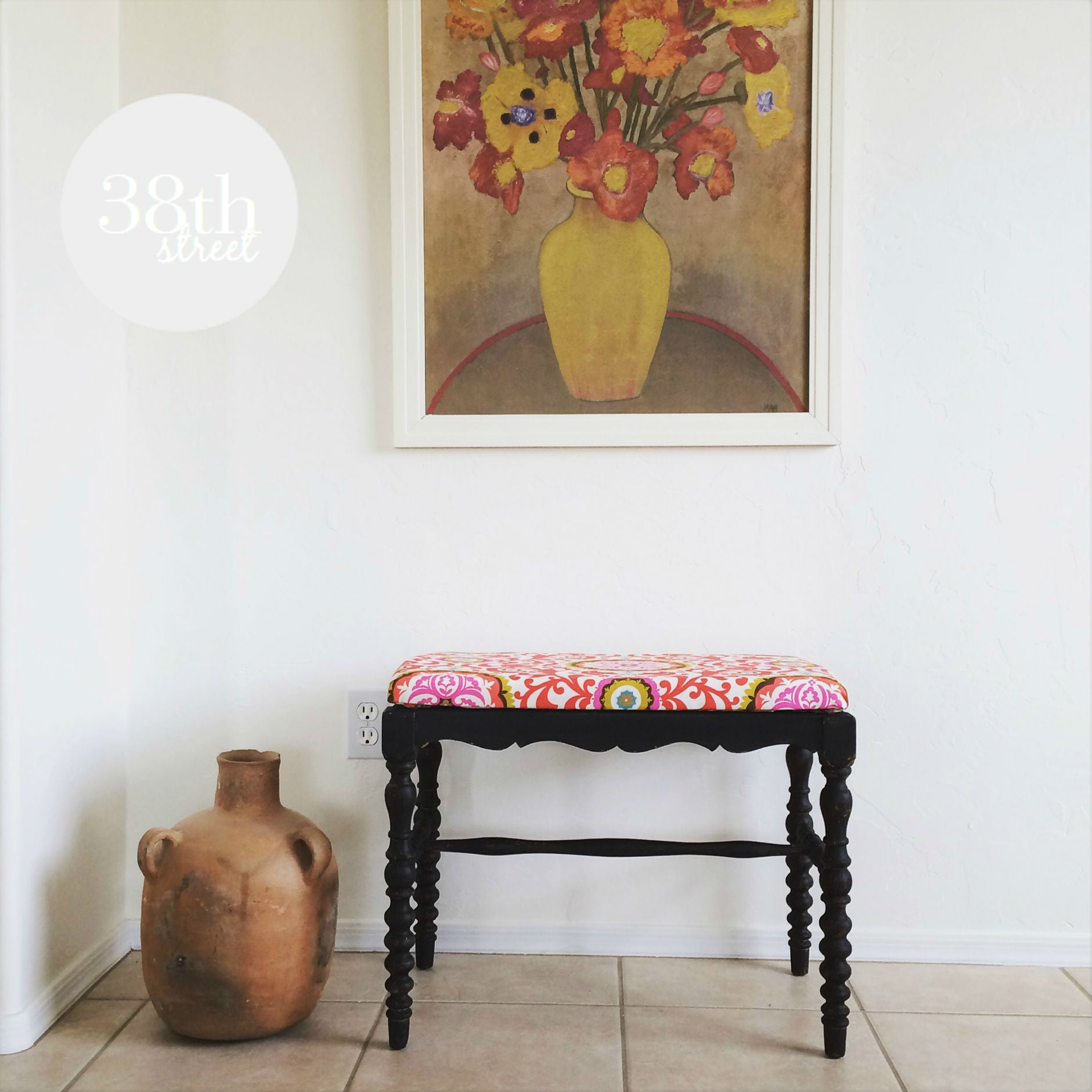 black upholstered bench painted with eco-friendly DIY furniture paint by Country Chic Paint