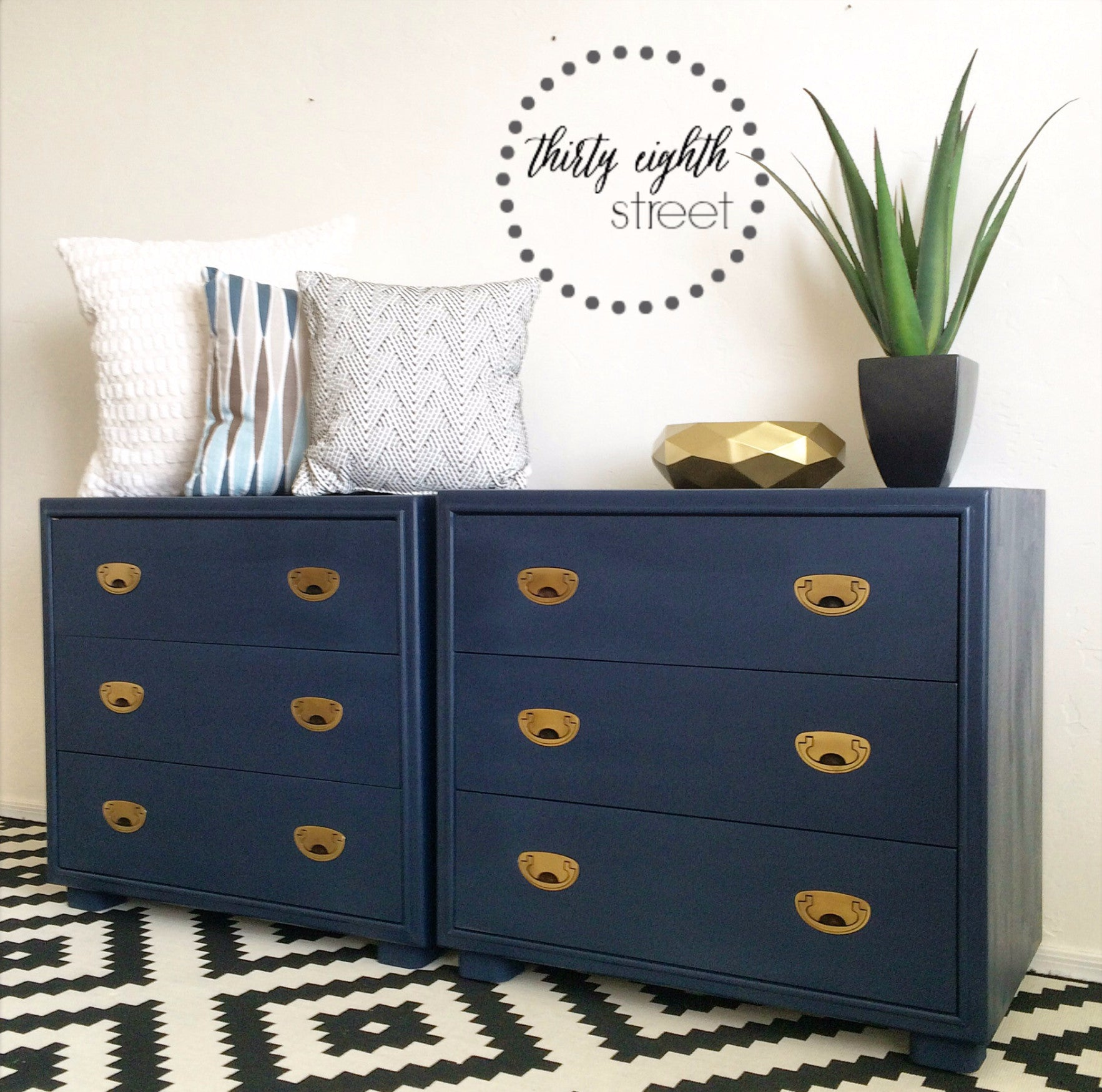 navy blue modern side tables painted with eco-friendly DIY furniture paint by Country Chic Paint
