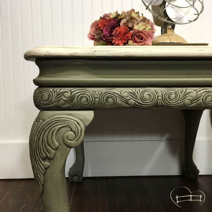 sage green painted end table with antiquing wax