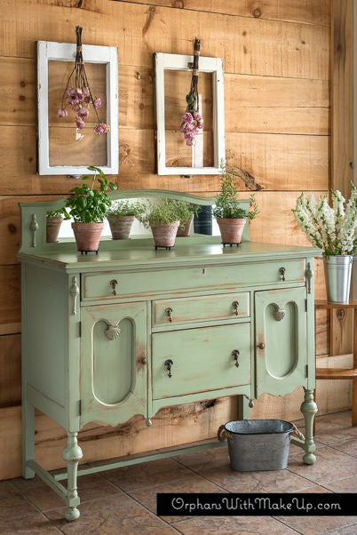 farmhouse shabby chic sage green buffet painted with eco-friendly DIY furniture paint by Country Chic Paint