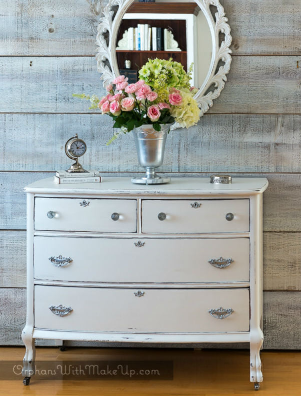 shabby chic white dresser painted with eco-friendly DIY furniture paint and all-natural shimmery pearl furniture wax by Country Chic Paint