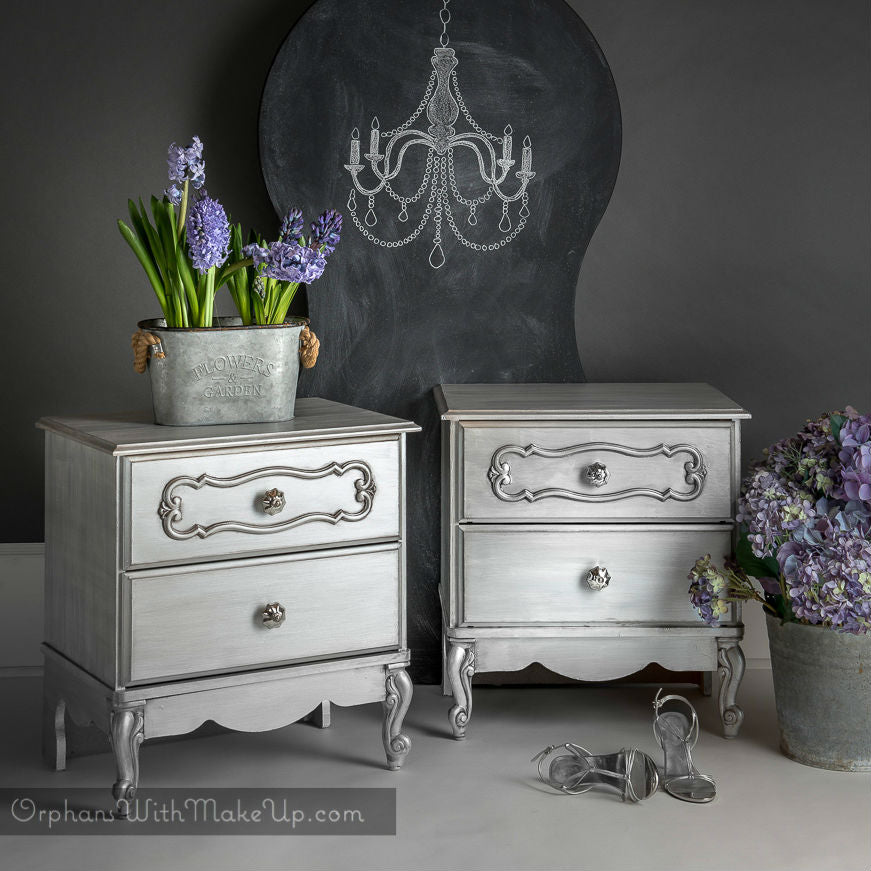 glamorous silver french provincial nightstands painted with eco-friendly DIY furniture paint and silver metallic cream by Country Chic Paint