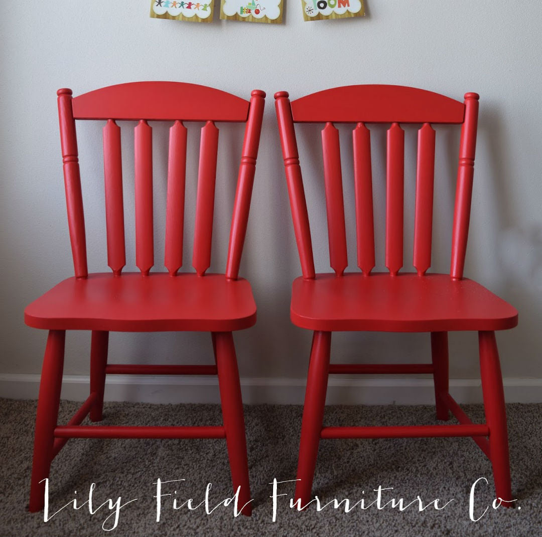 bright red children's furniture kids chairs painted with eco-friendly toy safe DIY furniture paint by Country Chic Paint