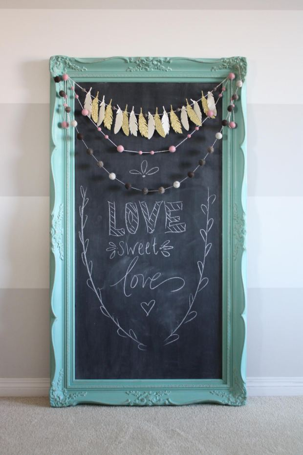 shabby chic vintage turquoise teal mirror upcycled into a chalkboard painted with eco-friendly DIY furniture paint by Country Chic Paint