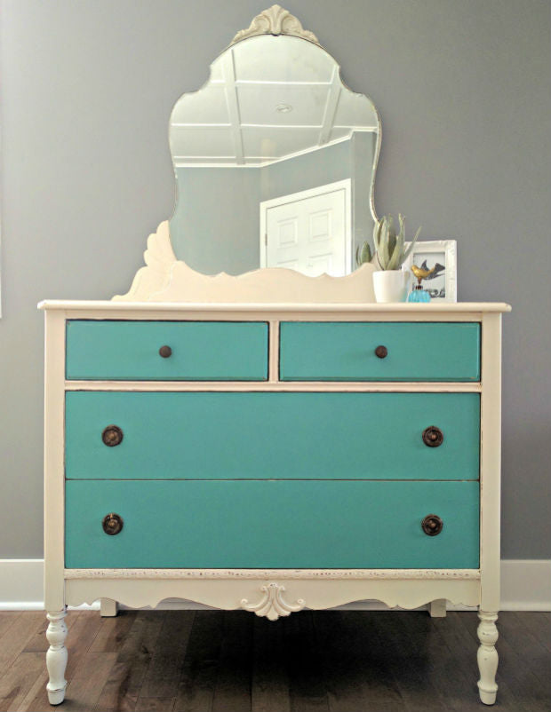 shabby chic two tone white and turquoise blue dresser painted with eco-friendly DIY furniture paint by Country Chic Paint