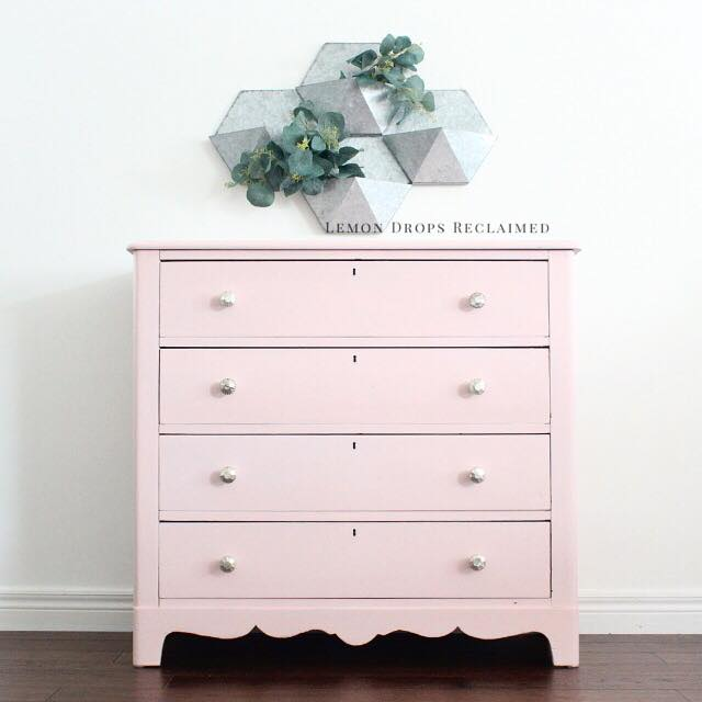 blush pink shabby chic dresser painted with eco-friendly DIY clay paint by Country Chic Paint