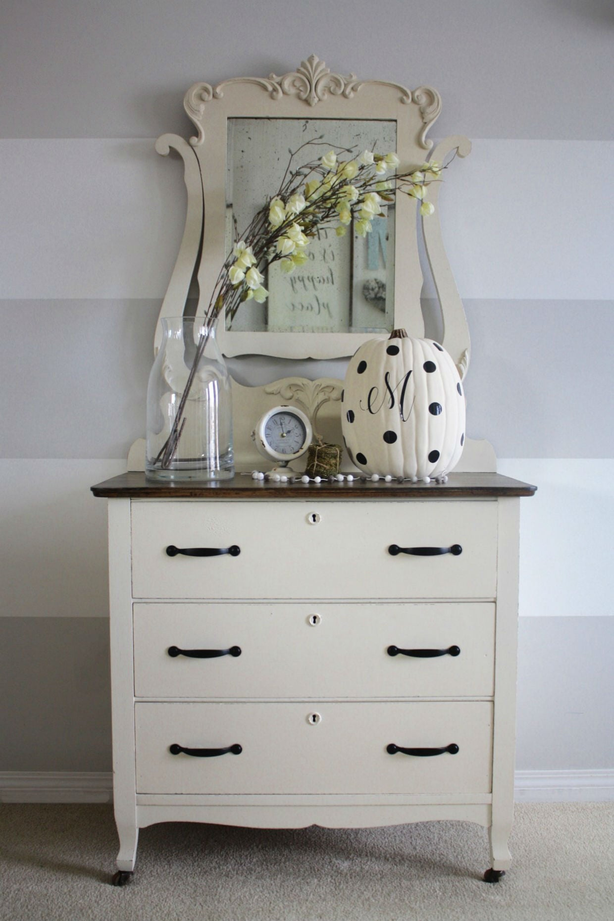 shabby chic cream white dresser painted with eco-friendly DIY furniture paint by Country Chic Paint