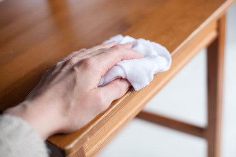 furniture painting surface prep - lint-free rag wiping table top clean