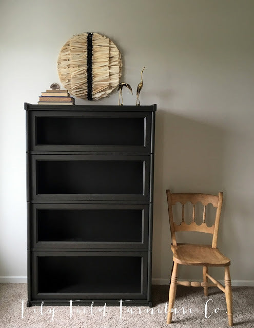 masculine black espresso brown library bookshelf painted with eco-friendly DIY furniture paint by Country Chic Paint