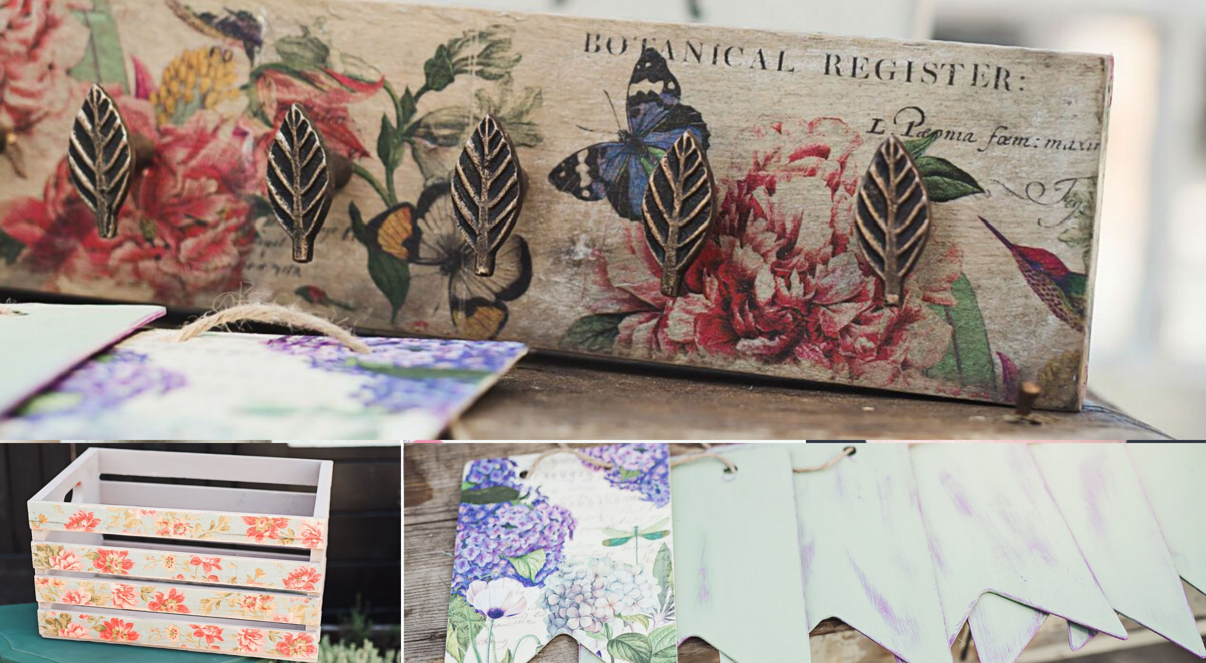 decoupaged craft ideas - diy upcycled coat rack, decoupage wood crate, floral wooden bunting decor