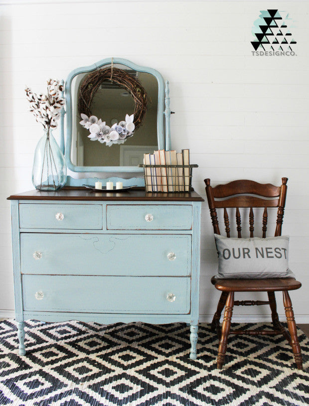 soft duck egg blue dresser with harp mirror painted with eco-friendly DIY furniture paint by Country Chic Paint