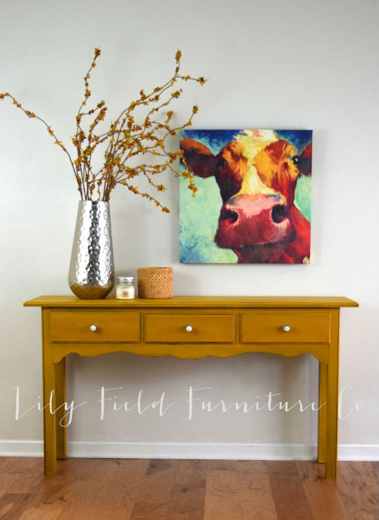 boho mustard yellow console table painted with eco-friendly DIY furniture paint by Country Chic Paint