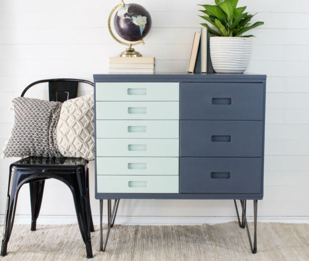 cool grey blue and mint green color block mcm dresser with hairpin legs painted with eco-friendly DIY furniture paint by Country Chic Paint