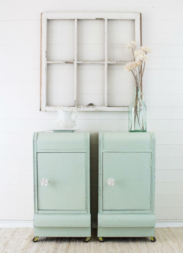 mint green vanity upcyclcled into nightstands painted with eco-friendly DIY furniture paint by Country Chic Paint