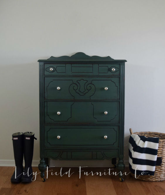 dark forest green tallboy dresser painted with eco-friendly DIY furniture paint and black furniture glaze by Country Chic Paint