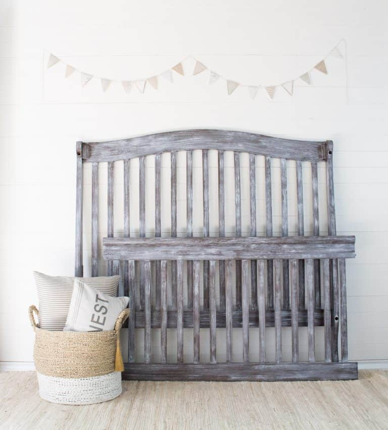 grey painted and distressed crib - diy painted crib with voc free toy safe furniture paint