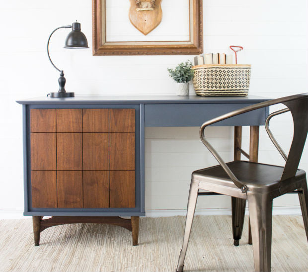 cool grey blue mcm desk painted with eco-friendly DIY furniture paint by Country Chic Paint