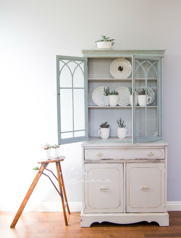 shabby chic off white and duck egg blue china cabinet painted with eco-friendly DIY furniture paint by Country Chic Paint