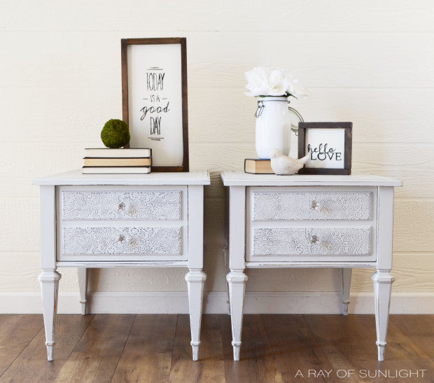 shabby chic white side tables painted with eco-friendly DIY furniture paint by Country Chic Paint