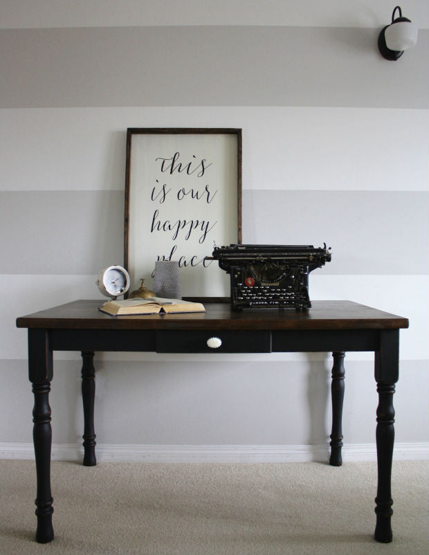 black table desk painted with eco-friendly DIY furniture paint by Country Chic Paint