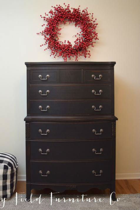 shabby chic distressed black tallboy dresser painted with eco-friendly DIY furniture paint by Country Chic Paint