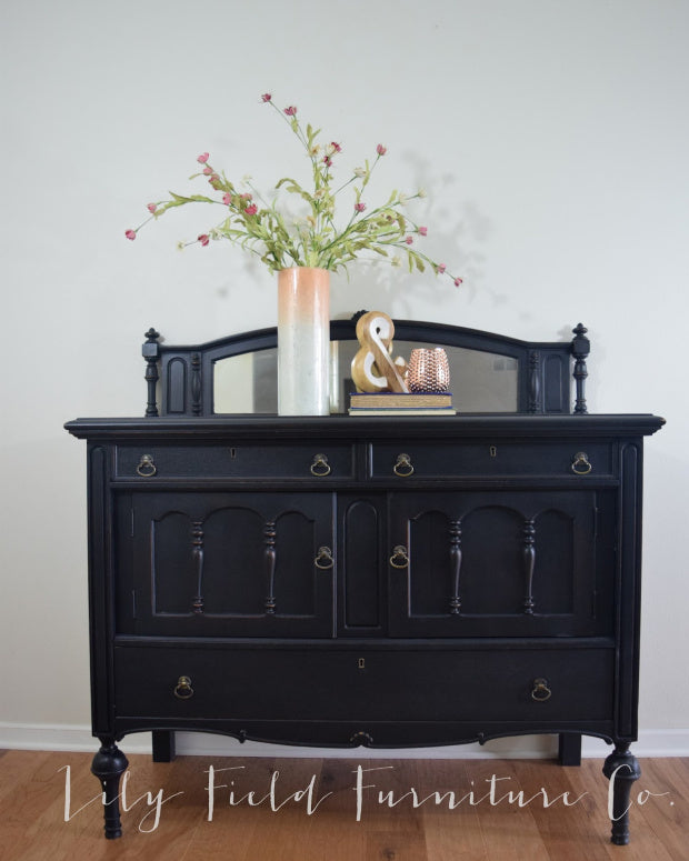 shabby chic black dresser painted with eco-friendly DIY furniture paint by Country Chic Paint
