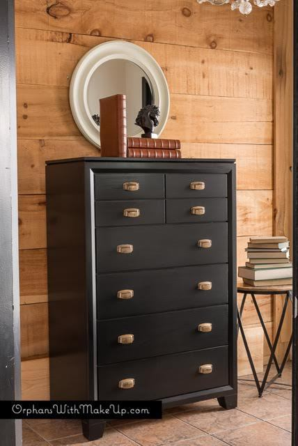 modern black dresser painted with eco-friendly DIY furniture paint by Country Chic Paint