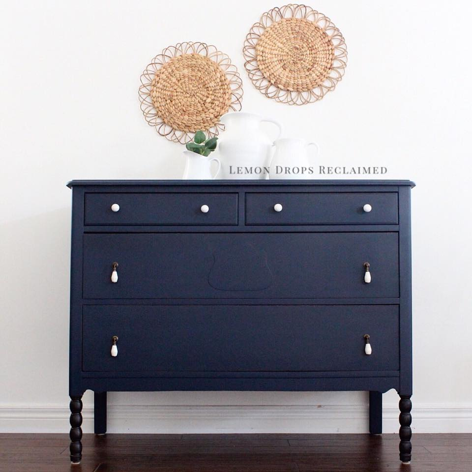 navy blue dresser painted with eco-friendly DIY furniture paint by Country Chic Paint