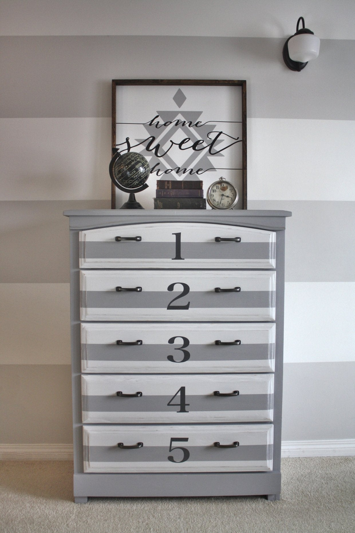 grey and white striped dresser with painted numbers - eco-friendly DIY furniture paint by Country Chic Paint
