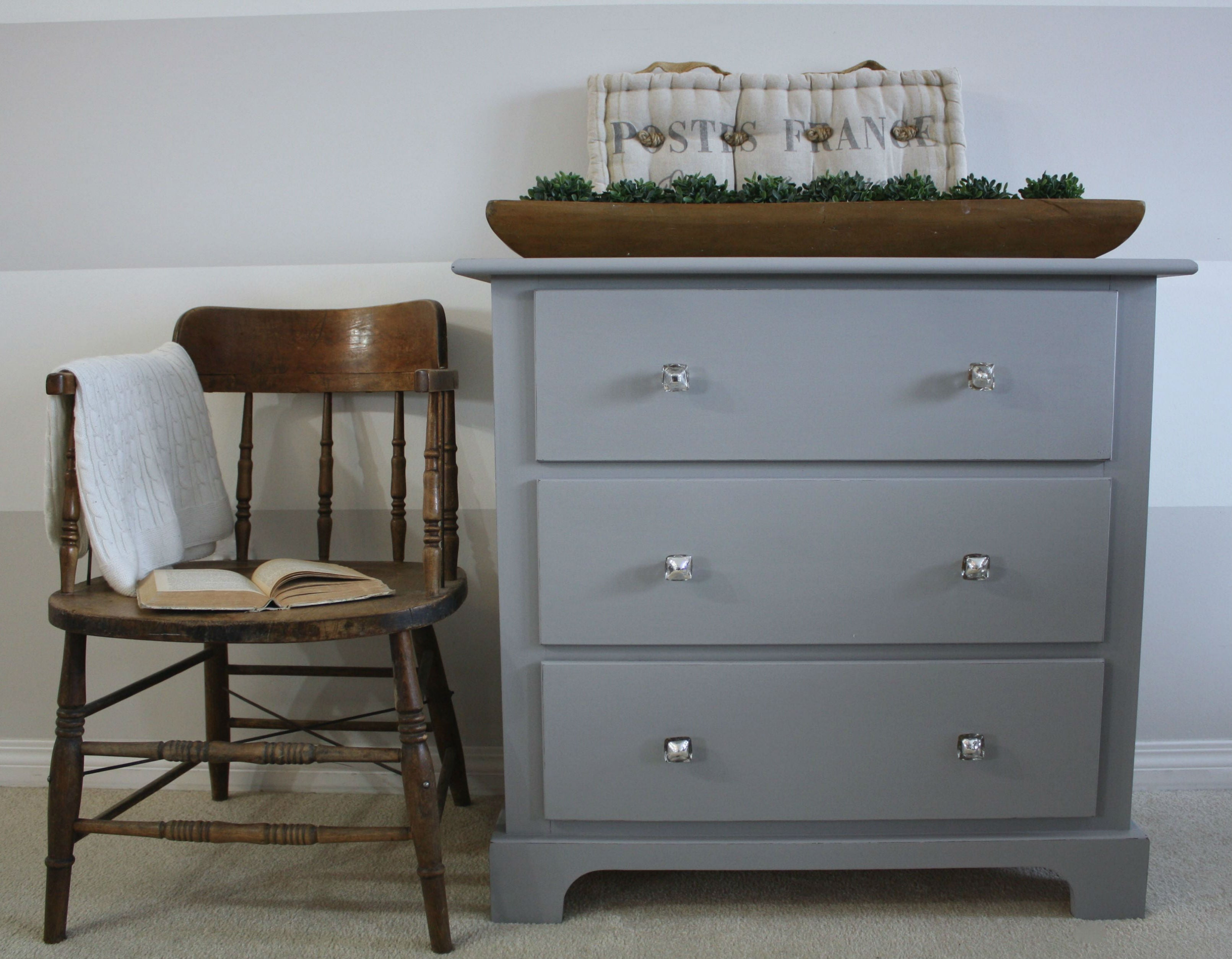 modern grey dresser painted with eco-friendly DIY furniture paint by Country Chic Paint