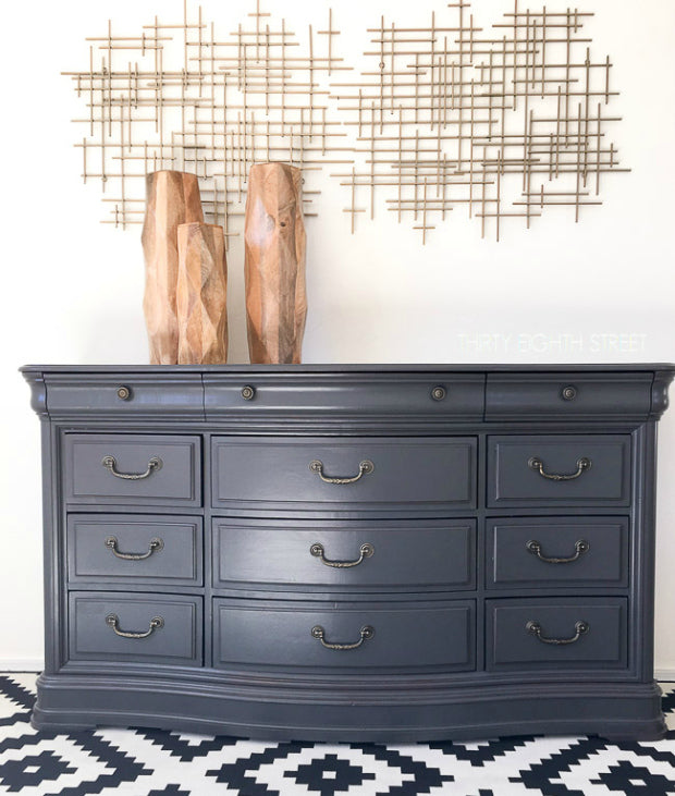 glossy charcoal grey dresser painted with eco-friendly DIY furniture paint by Country Chic Paint