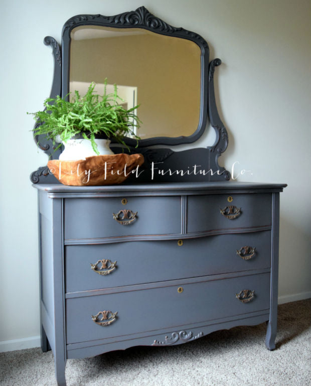 shabby chic charcoal grey dresser with harp mirror painted with eco-friendly DIY furniture paint by Country Chic Paint