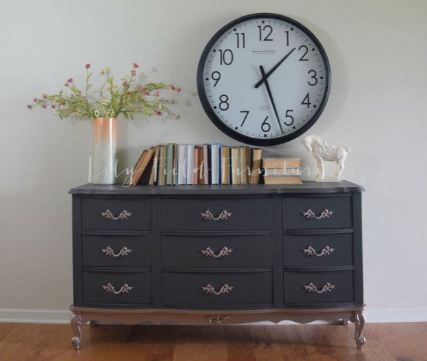 french provincial charcoal grey and rose gold dresser painted with eco-friendly DIY furniture paint by Country Chic Paint