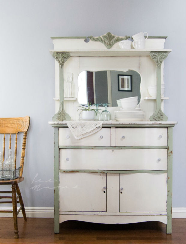 shabby chic off white and sage green hutch painted with eco-friendly DIY furniture paint by Country Chic Paint