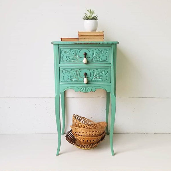 teal blue green side table painted with eco-friendly DIY furniture paint by Country Chic Paint