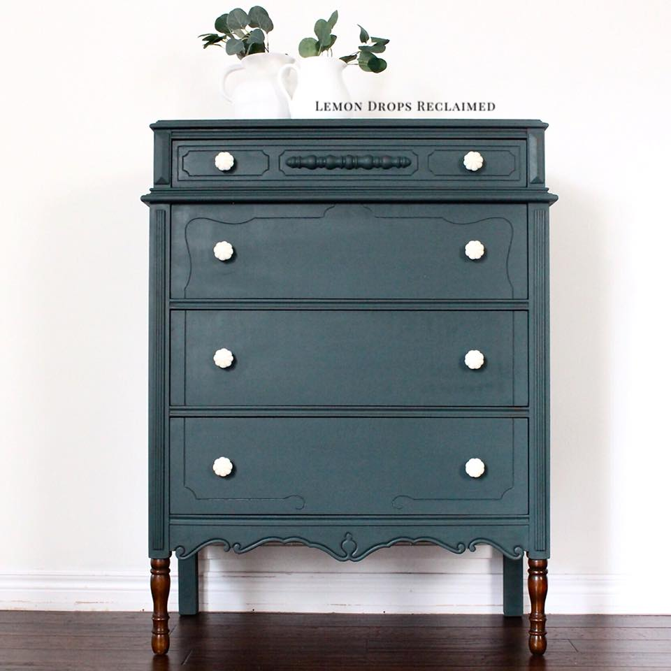 teal blue green tall boy dresser painted with eco-friendly DIY furniture paint by Country Chic Paint