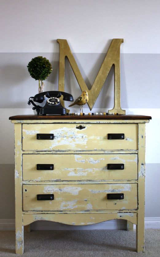 rustic shabby chic yellow chippy dresser painted with eco-friendly DIY furniture paint by Country Chic Paint