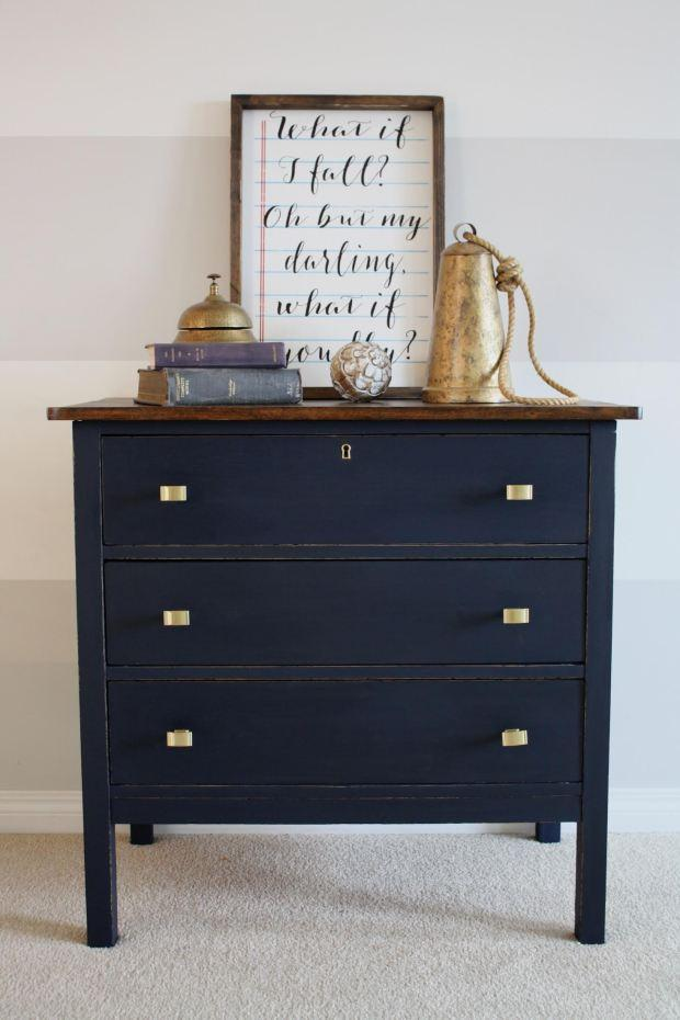 masculine nautical navy blue dresser painted with eco-friendly DIY furniture paint by Country Chic Paint