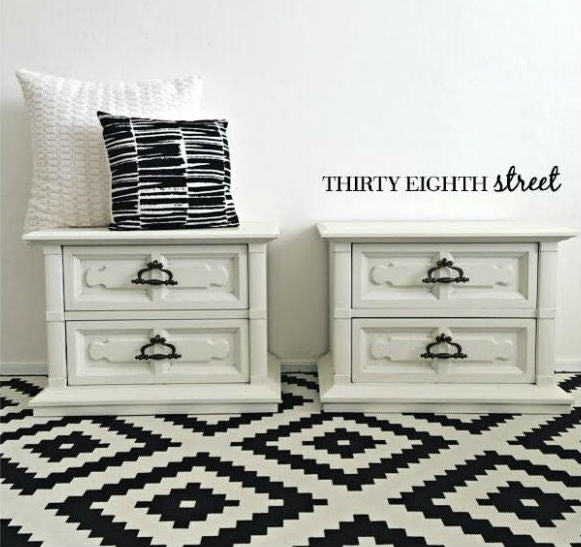 white nightstands painted with eco-friendly DIY furniture paint by Country Chic Paint