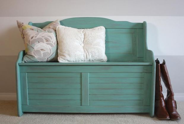 shabby chic teal turquoise green bench painted with eco-friendly DIY furniture paint and all-natural beeswax distressing bar by Country Chic Paint