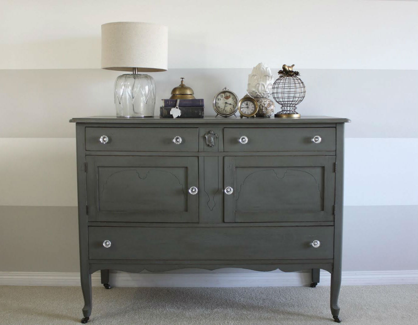 warm medium grey dresser painted with eco-friendly DIY furniture paint by Country Chic Paint