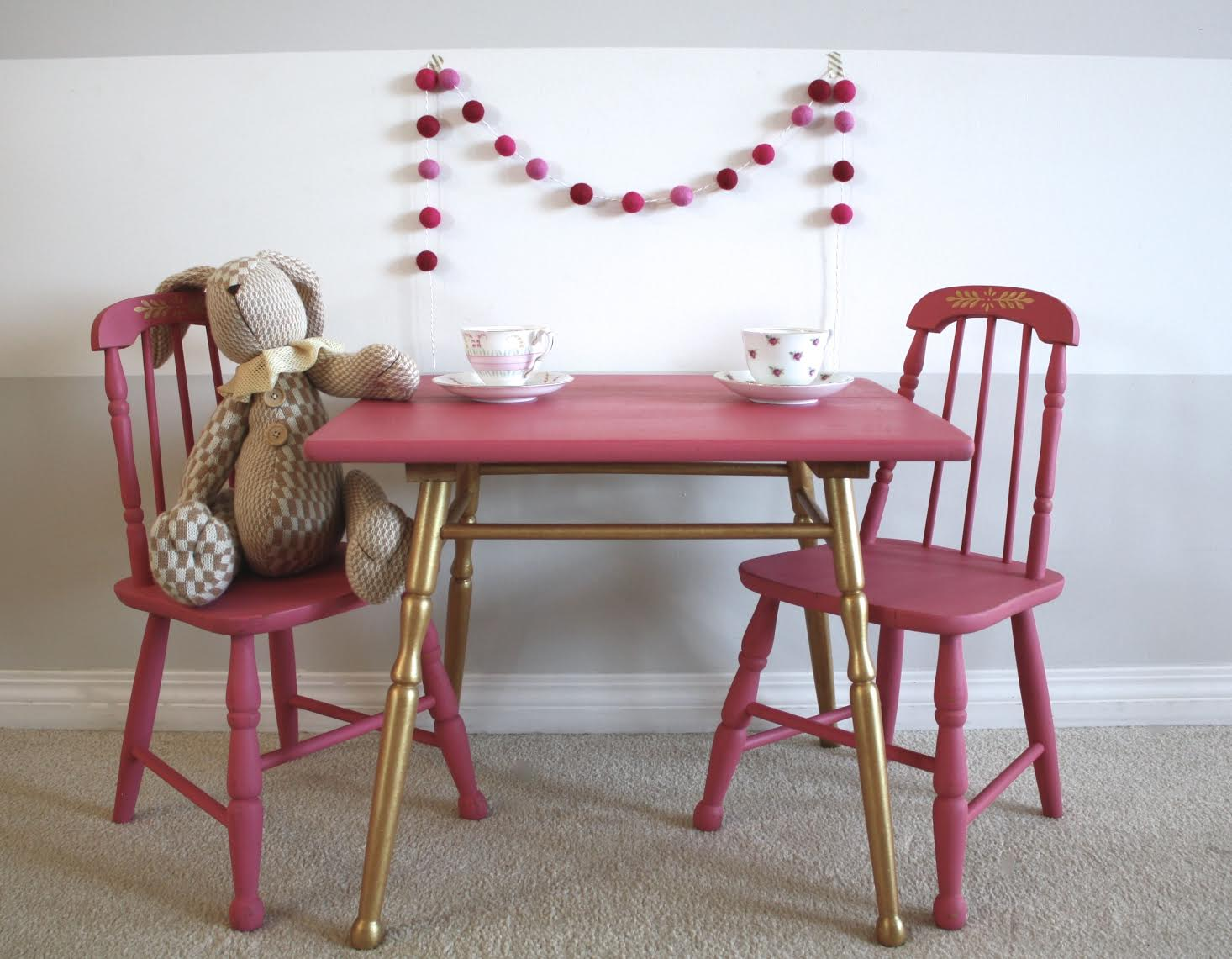 pink and gold kids table and chairs painted with eco-friendly toy safe DIY furniture paint and gold metallic cream by Country Chic Paint