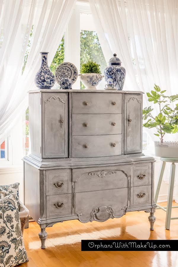shabby chic grey antique wardrobe painted with eco-friendly DIY furniture paint by Country Chic Paint