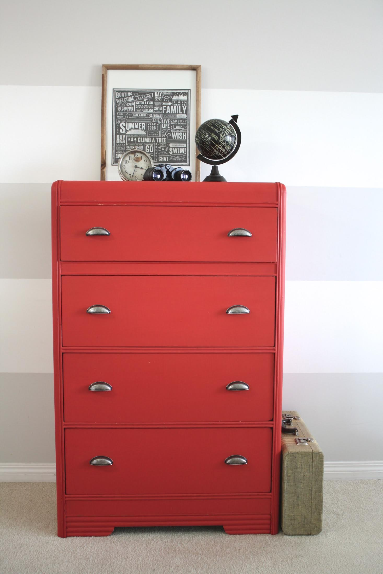 red waterfall tallboy dresser painted with eco-friendly DIY furniture paint by Country Chic Paint
